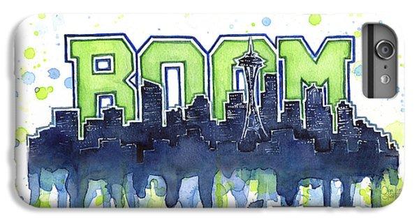 Seattle 12th Man Legion Of Boom Watercolor IPhone 6 Plus Case by Olga Shvartsur