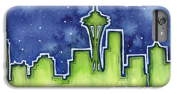 Seattle Night Sky Watercolor IPhone 6 Plus Case