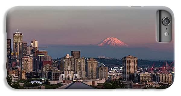 IPhone 6 Plus Case featuring the photograph Seattle Skyline And Mt. Rainier Panoramic Hd by Adam Romanowicz