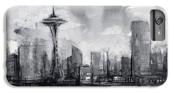 Seattle Skyline Painting Watercolor  IPhone 6 Plus Case by Olga Shvartsur