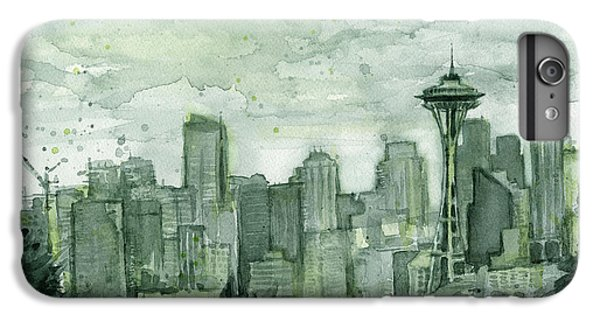 City Scenes iPhone 6 Plus Case - Seattle Skyline Watercolor Space Needle by Olga Shvartsur