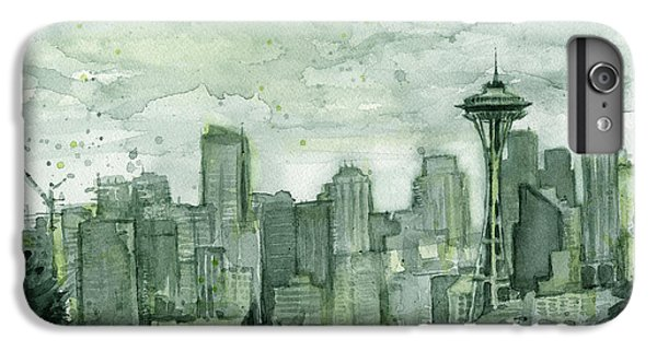 Seattle Skyline Watercolor Space Needle IPhone 6 Plus Case by Olga Shvartsur