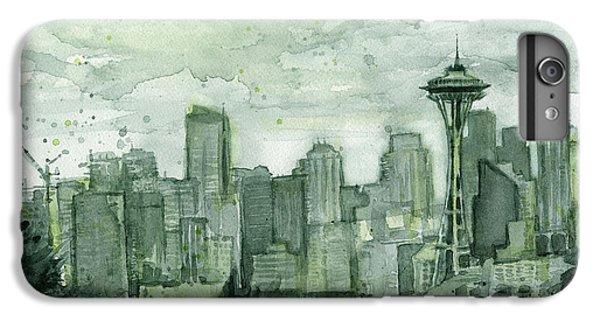 Seattle Skyline Watercolor Space Needle IPhone 6 Plus Case by Olga Shvartsur