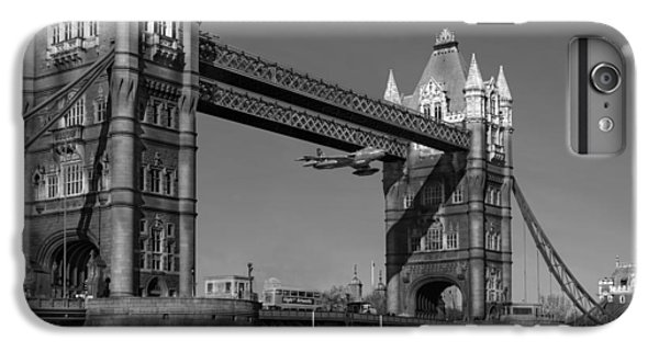 IPhone 6 Plus Case featuring the photograph Seven Seconds - The Tower Bridge Hawker Hunter Incident Bw Versio by Gary Eason