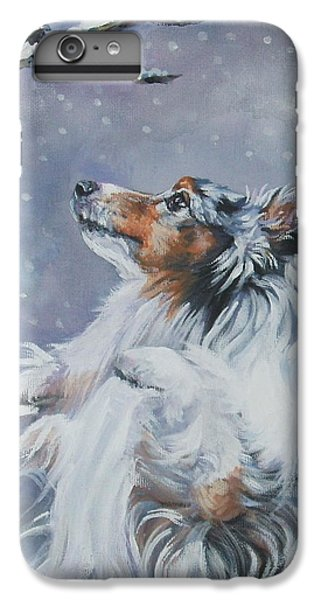 Chickadee iPhone 6 Plus Case - Shetland Sheepdog With Chickadee by Lee Ann Shepard