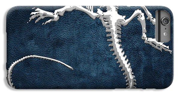 Silver Iguana Skeleton On Blue Silver Iguana Skeleton On Blue  IPhone 6 Plus Case
