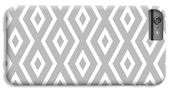 White iPhone 6 Plus Case - Silver Pattern by Christina Rollo