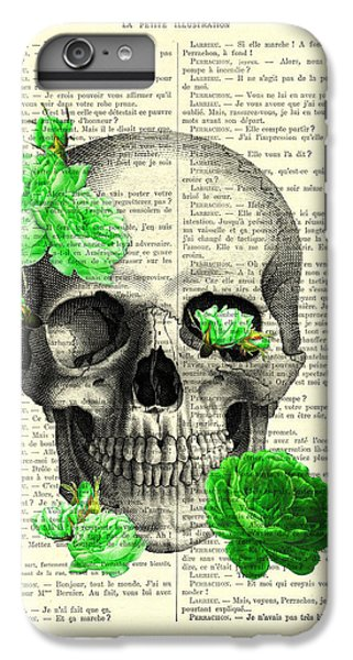 Floral iPhone 6 Plus Case - Skull And Green Roses Illustration by Madame Memento