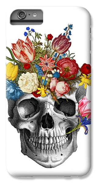 Floral iPhone 6 Plus Case - Skull With Flowers by Madame Memento
