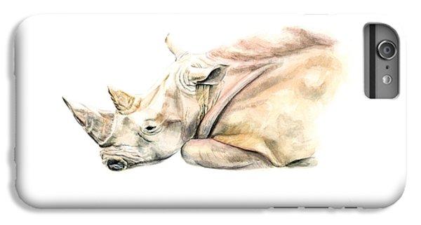 Rhinocerus iPhone 6 Plus Case - Small Colour Rhino by Elizabeth Lock