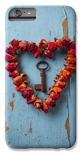 Flowers iPhone 6 Plus Case - Small Rose Heart Wreath With Key by Garry Gay