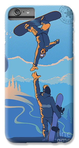 Mountain Sunset iPhone 6 Plus Case - Snowboard High Five by Sassan Filsoof