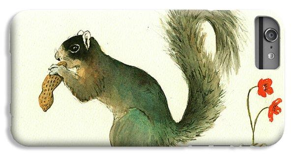 Squirrel iPhone 6 Plus Case - Southern Fox Squirrel Peanut by Juan Bosco
