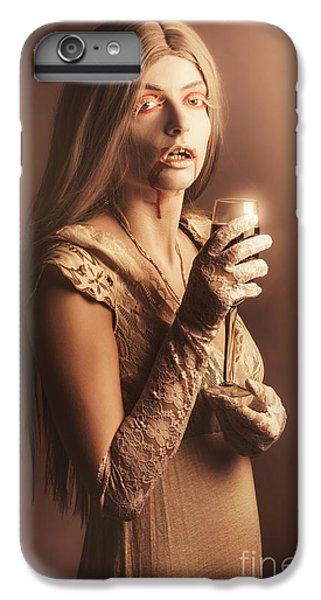 Spooky Vampire Girl Drinking A Glass Of Red Wine IPhone 6 Plus Case