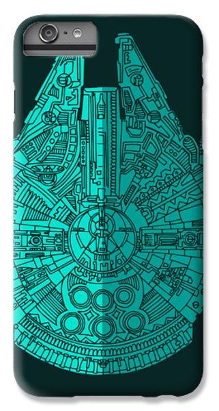 Falcon iPhone 6 Plus Case - Star Wars Art - Millennium Falcon - Blue 02 by Studio Grafiikka