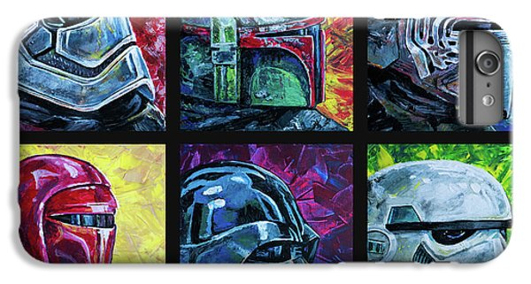 IPhone 6 Plus Case featuring the painting Star Wars Helmet Series - Collage by Aaron Spong