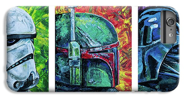 IPhone 6 Plus Case featuring the painting Star Wars Helmet Series - Triptych by Aaron Spong