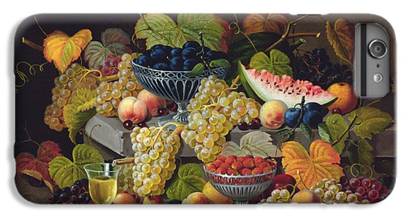 Still Life Of Melon Plums Grapes Cherries Strawberries On Stone Ledge IPhone 6 Plus Case by Severin Roesen