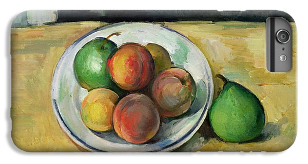 Fruit iPhone 6 Plus Case - Still Life With A Peach And Two Green Pears by Paul Cezanne