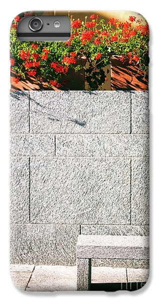 IPhone 6 Plus Case featuring the photograph Stone Bench With Flowers by Silvia Ganora