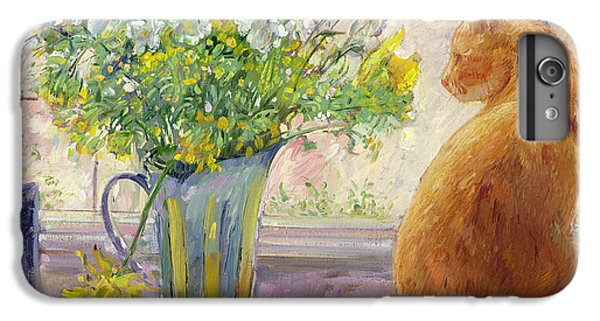 Striped Jug With Spring Flowers IPhone 6 Plus Case by Timothy Easton