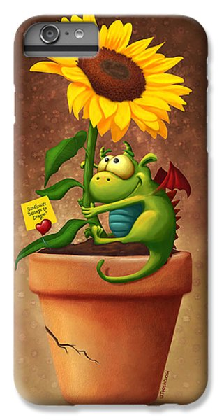 Floral iPhone 6 Plus Case - Sunflower And Dragon by Tooshtoosh