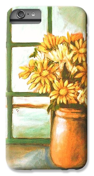IPhone 6 Plus Case featuring the painting Sunflowers In Window by Winsome Gunning