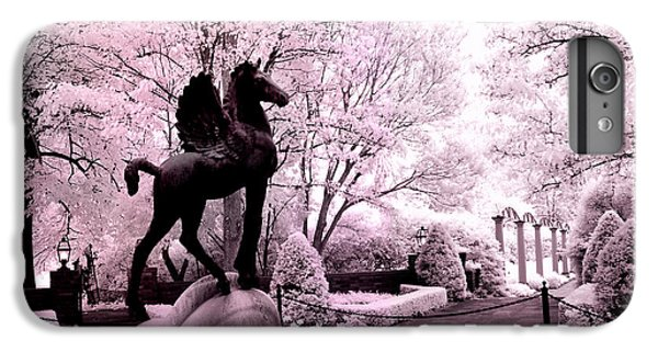 Pegasus iPhone 6 Plus Case - Surreal Infared Pink Black Sculpture Horse Pegasus Winged Horse Architectural Garden by Kathy Fornal