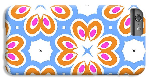 Floral iPhone 6 Plus Case - Tangerine And Sky Floral Pattern- Art By Linda Woods by Linda Woods