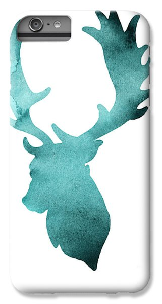 Deer iPhone 6 Plus Case - Teal Deer Watercolor Painting by Joanna Szmerdt