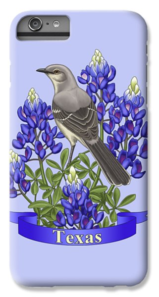 Texas State Mockingbird And Bluebonnet Flower IPhone 6 Plus Case by Crista Forest