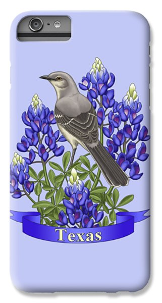 Mockingbird iPhone 6 Plus Case - Texas State Mockingbird And Bluebonnet Flower by Crista Forest