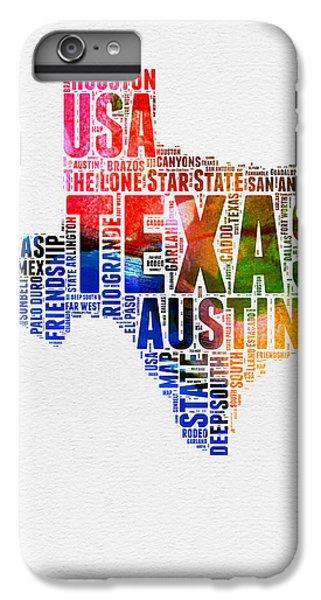 Austin iPhone 6 Plus Case - Texas Watercolor Word Cloud  by Naxart Studio