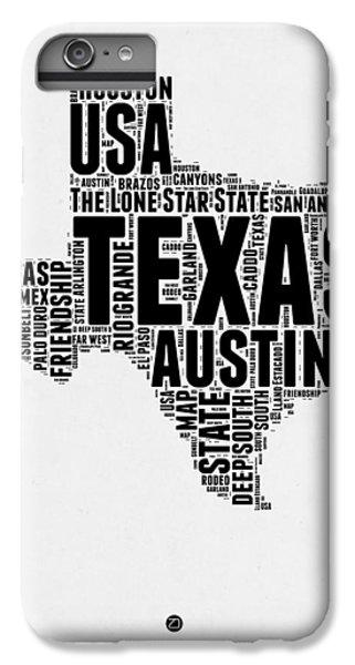 Austin iPhone 6 Plus Case - Texas Word Cloud 2 by Naxart Studio