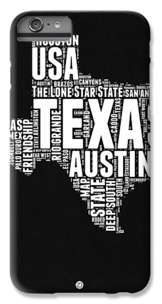 Austin iPhone 6 Plus Case - Texas Word Cloud Black And White Map by Naxart Studio
