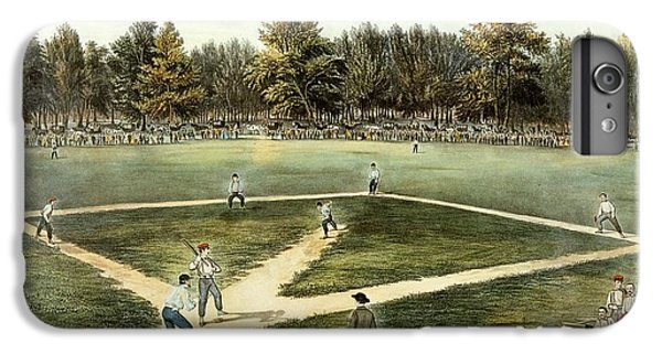 Landmarks iPhone 6 Plus Case - The American National Game Of Baseball Grand Match At Elysian Fields by Currier and Ives