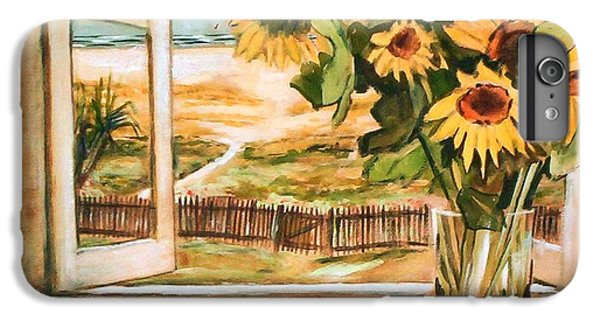 IPhone 6 Plus Case featuring the painting The Beach Sunflowers by Winsome Gunning