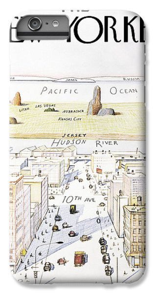 Pacific Ocean iPhone 6 Plus Case - New Yorker March 29, 1976 by Saul Steinberg