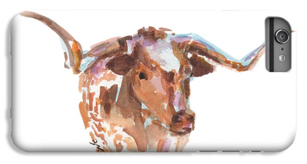 Cow iPhone 6 Plus Case - The Original Longhorn Standing Earth Quack Watercolor Painting By Kmcelwaine by Kathleen McElwaine