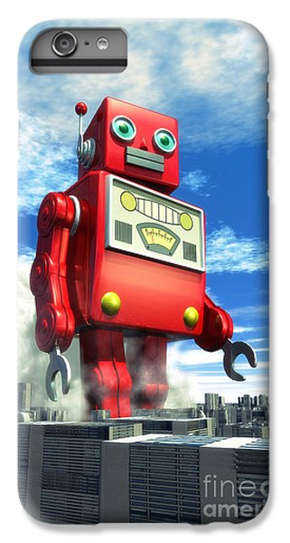 Aliens iPhone 6 Plus Case - The Red Tin Robot And The City by Luca Oleastri