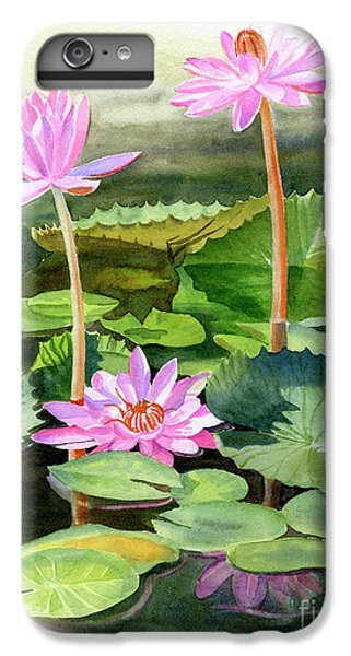 Lily iPhone 6 Plus Case - Three Pink Water Lilies With Pads by Sharon Freeman