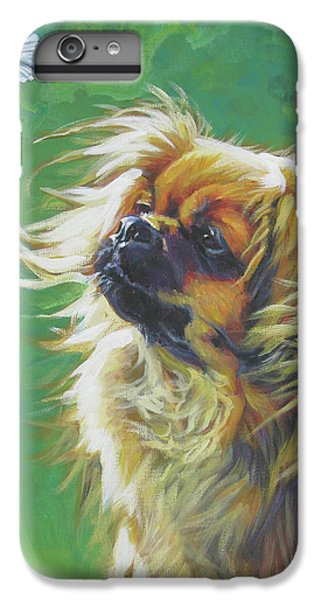 Tibetan Spaniel And Cabbage White Butterfly IPhone 6 Plus Case by Lee Ann Shepard
