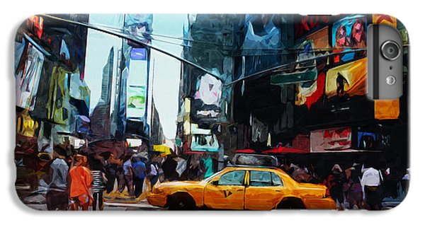 Times Square Taxi- Art By Linda Woods IPhone 6 Plus Case by Linda Woods
