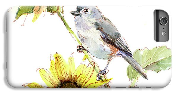 Titmouse iPhone 6 Plus Case - Titmouse With Sunflower by John Keeling