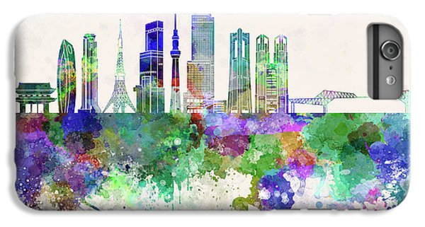 Tokyo V3 Skyline In Watercolor Background IPhone 6 Plus Case by Pablo Romero