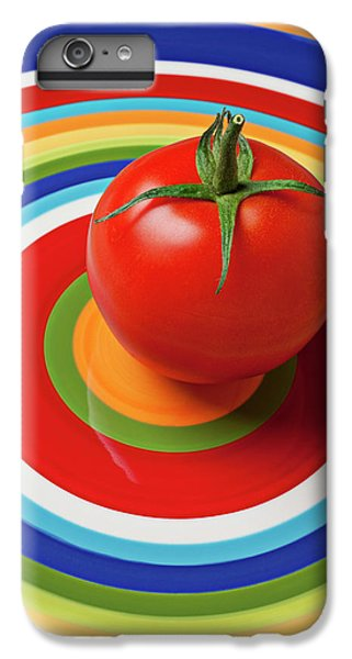 Vegetables iPhone 6 Plus Case - Tomato On Plate With Circles by Garry Gay