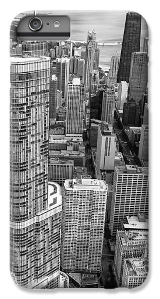 IPhone 6 Plus Case featuring the photograph Trump Tower And John Hancock Aerial Black And White by Adam Romanowicz