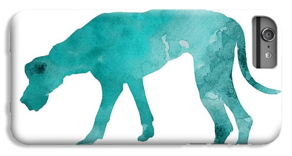 Dog iPhone 6 Plus Case - Turquoise Great Dane Watercolor Art Print Paitning by Joanna Szmerdt