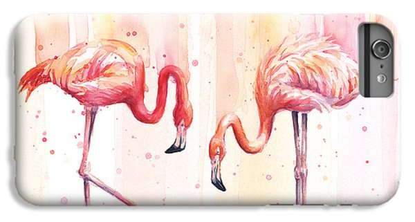 Two Flamingos Watercolor IPhone 6 Plus Case by Olga Shvartsur