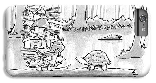 Tortoise iPhone 6 Plus Case - Two Tortoises Speak. One Has A Large Number by Benjamin Schwartz